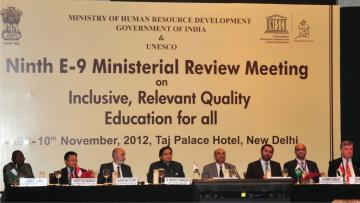 Dr. M. M. Pallam raju, Minister of HRD and Dr. Shashi Tharoor, MoS of HRD, at the closing session of E-9 Ministerial Review Meeting on Inclusive Relevant and Quality Education for All, in New Delhi on November 10, 2012.